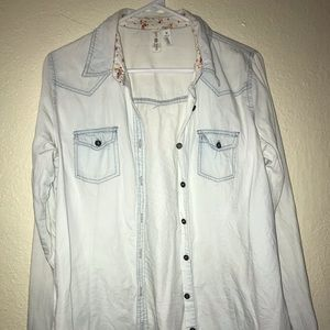 Baby blue white-washed button up